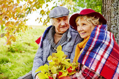 Autumn relax. Affectionate senior couple having rest under tree on autumn day Royalty Free Stock Photo