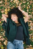 Autumn relax and happiness. Young black happy woman relaxing in autumn. Happiness and relax concept Stock Photography