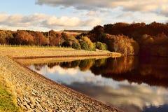 Autumn reservoir reflections Stock Photo