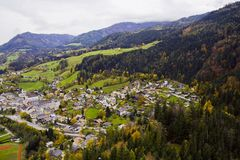 Autumn resort. Mountain resorts of the Austrian Alpes in October royalty free stock photo