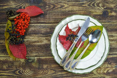 Autumn restaurant menu free text copy space and table setting Royalty Free Stock Image