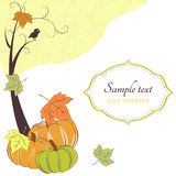 Autumn retro background with tree, pumpkins. And frame for text Royalty Free Stock Photo