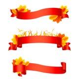 Autumn Ribbons y banderas rojos ilustración del vector