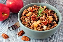 Autumn rice pilaf with apples, nuts and cranberries. In a gray bowl against an old wood background Stock Photos