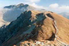 Autumn on the ridge of Western Tatras. View of Západné Tatry main ridge from summit of Salatín, Western Carpathians, Slovakia Stock Images