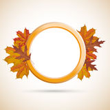 Autumn Ring Foliage Cover. Autumn ring with foliage on the brown background Stock Image