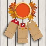 Autumn Ring Foliage Wood Price Stickers. Autumn ring with foliage and price stickers Stock Image