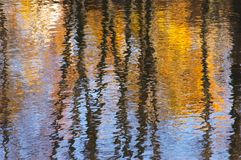 Autumn in the river. Reflection from gold autumn birches in the river in a sunny day Stock Photo