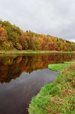Autumn river. The quiet river with yellow-red autumn wood on coast royalty free stock photos