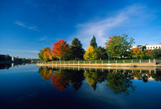 Autumn river. Rideau Canal in an autumn morning, Ottawa, Canada (E-1 + olympus zuiko 24mm F2.8 Royalty Free Stock Image