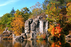 Autumn river. With beautiful rocks and colorful trees Royalty Free Stock Image