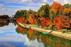 Autumn on river Bega Royalty Free Stock Images