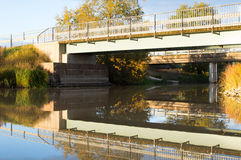 Autumn river and bridges Royalty Free Stock Photo