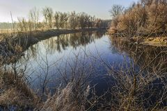 Autumn river.Frosty morning. Royalty Free Stock Photo