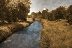 Autumn River Germany lizenzfreies stockbild