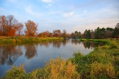 Autumn, river, grass and trees in fall colors. Autumn, river, grass and trees, in fall colors stock images