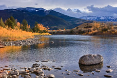 Autumn River in Montana. Stock Photo