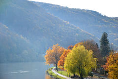 Autumn at the river Moselle in Germany Royalty Free Stock Photography