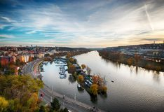Autumn and the River in Prague stock photography
