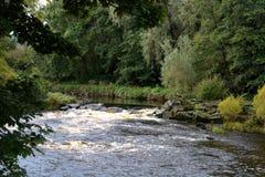 Autumn River Scene en Escocia Foto de archivo