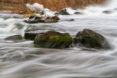 Autumn  river view with waterfall Stock Images