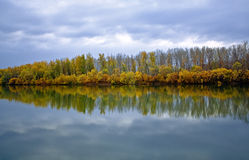 Autumn. The rivers Pojma before a rain Royalty Free Stock Photography
