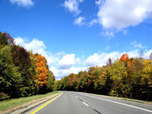 Autumn Road. Fall colors in Michigan Stock Photos
