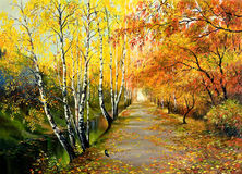 Autumn road. Along the channel Stock Photography