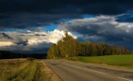 Autumn road. Storm Sigulda Latvia Stock Images