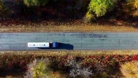 Autumn Road. Aerial Survey stock footage