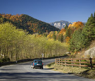 Autumn road car Stock Image