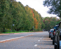 Autumn road with cars Royalty Free Stock Photography