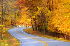 Autumn road with hiker. A curving autumn road with a hiker in the far distance stock images