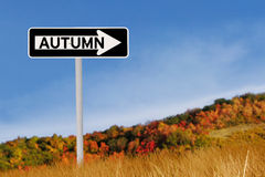 Autumn road sign Royalty Free Stock Photos