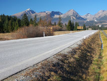 Autumn road to High Tatras, Slovakia Stock Photo