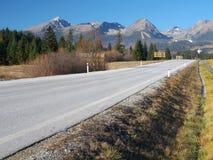 Autumn road to High Tatras, Slovakia stock photo