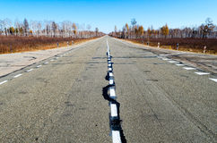 Autumn road to Siberia Stock Image