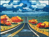 Autumn road through the valley. Stylized vector illustration of an autumn road through the valley during a thunderstorm Stock Photos