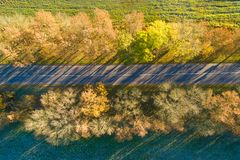 Autumn road view from above. Autumn background. Autumn road view from above. Colorful fall transportation background. Aerial landscape. Yellow trees at the road royalty free stock photography