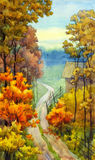 Autumn road. Watercolor landscape. Countryside view of a dirt road near the autumnal forest stock illustration