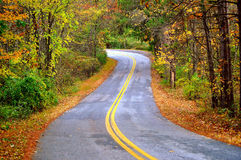Autumn Road. A winding countryside road n the Pocono Mountains Royalty Free Stock Images