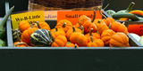 Autumn roadside farmstand Stock Photos