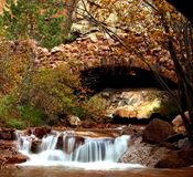Autumn Rock Bridge Stock Photography