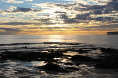 Autumn Rockpool. Sunset @ Birling Gap, Nr Eastbourne, East Sussex royalty free stock image