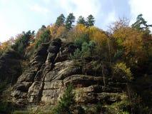 Autumn rocks. Autumn forest standing on the rocks Stock Photo