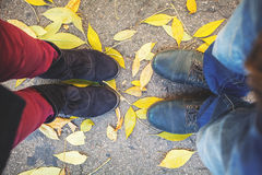 Autumn romance. Legs of man and woman on fallen leaves Stock Photos