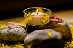 Autumn romantic composition of a burning candle Stock Photo