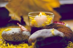 Autumn romantic composition of a burning candle Royalty Free Stock Images