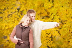 Autumn romantic couple smiling together in park. Autumn romentic couple happy together hugging in park pointing stock photography