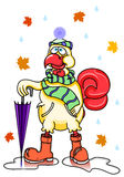 Autumn romantic funny cartoon rooster, wearing a scarf hat rubber boots and umbrella. Vector clip art illustration with simple gradients. All in a single layer Stock Image